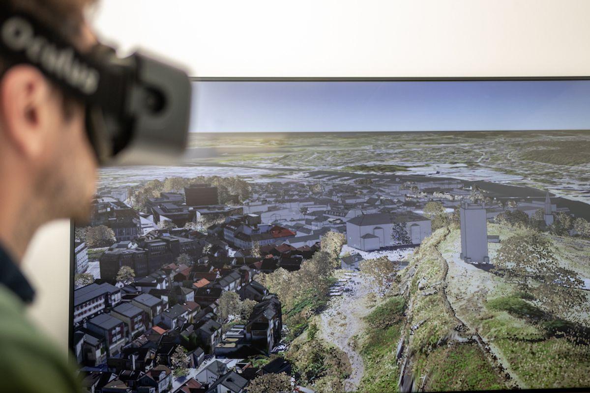 Dersom du får en lenke med en 3D-scene, kan vurdere utbyggingsplaner på en langt bedre måte enn på et todimensjonalt kart. Illustrasjon: Geodata