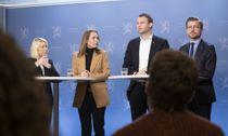 <p>– Vårt utgangspunkt er at vi trenger domstolene tilgjengelig for alle som trenger det, sa justis- og beredskapsminister Monica Mæland (H) på en pressekonferanse mandag, der også distrikt- og digitaliseringsminister Linda Hofstad Helleland (H), barne- og familieminister Kjell Ingolf Ropstad (KrF) og klima- og miljøminister Sveinung Rotevatn (V) var til stede. Foto: Terje Bendiksby, NTB scanpix</p>