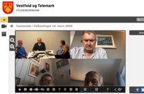 Det første heldigitale fylkestingsmøtet i Vestfold og Telemark ble direktesendt og deretter lagt ut som opptak, så alle kunne se debattene. Skjermdump fra fylkestingets nettsider.