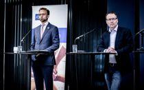 <p>Kommunalminister Nikolai Astrup og KS-leder Bjørn Arild Gram under KS` digitale stormøte med kommunale og fylkeskommunale ledere 13. mai.</p>