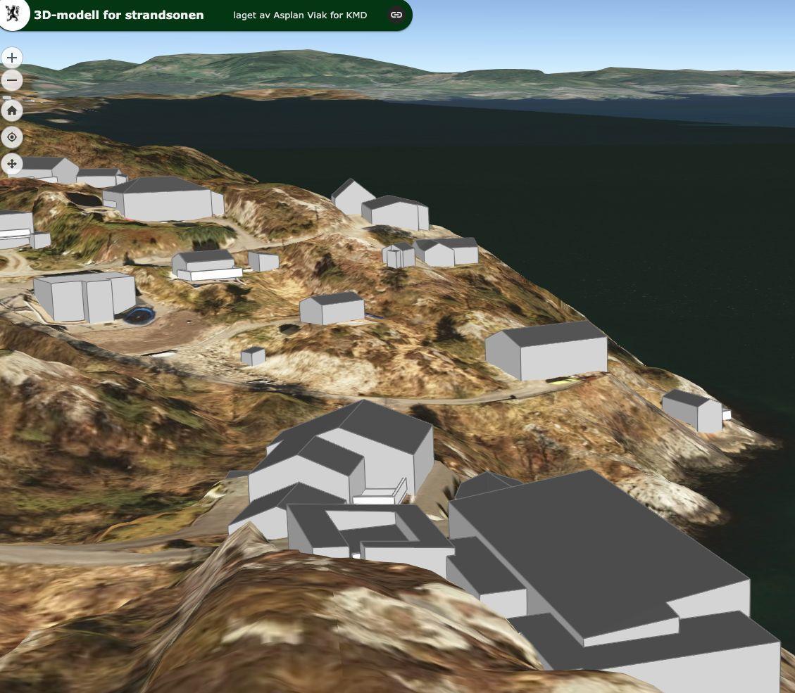 Ein tredimensjonal modell gjer det lettare å planlegge bruk av strandsona.