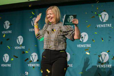 Nyvalgt leder i Venstre, Guri Melby, holder tale til Venstres landsmøte søndag.