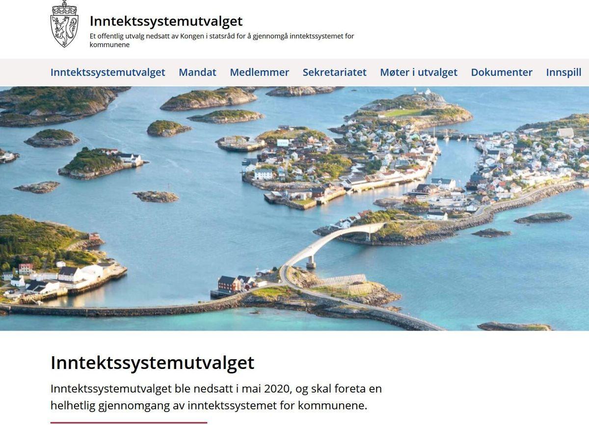 Slik ser nettsiden til utvalget ut som skal gå gjennom kommunesektorens inntektssystem. Kommuner kan her komme med sine innspill.