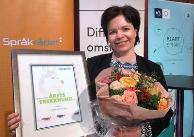 Connie Slettan Olsen fekk i 2019 pris for sitt arbeid med klarspråk i Meløy kommune. No arbeider ho i Rana kommune.