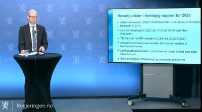 Geir Axelsen med hovedfunnene i den foreløpige rapporten til det Tekniske beregningsutvalget (TBU) for 2020.