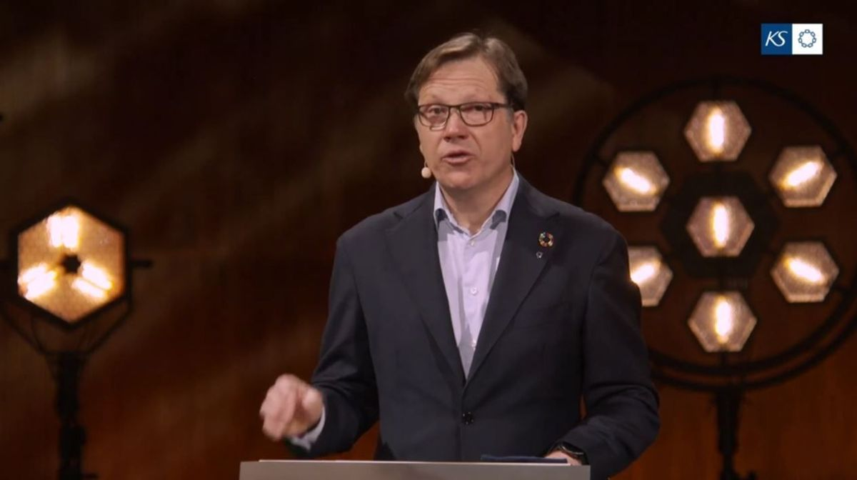 Lasse Hansen, administrerende direktør i KS, under kommunedirektørens landsmøte 2021.