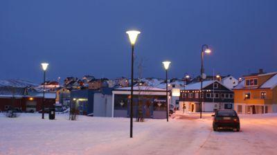 Gamvik er kommunen i Norge med høyest andel innvandrere. Bildet viser kommunens administrasjonssentrum, som er Mehavn.