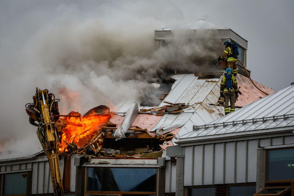 Larvik bibliotek ble påtent og totalskadd i november 2019.