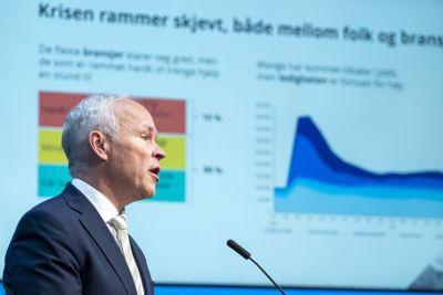 Finansminister Jan Tore Sanner (H) la vekt på at regjeringen vil hjelpe sårbare grupper ut av koronakrisen da han la fram revidert nasjonalbudsjett tirsdag.