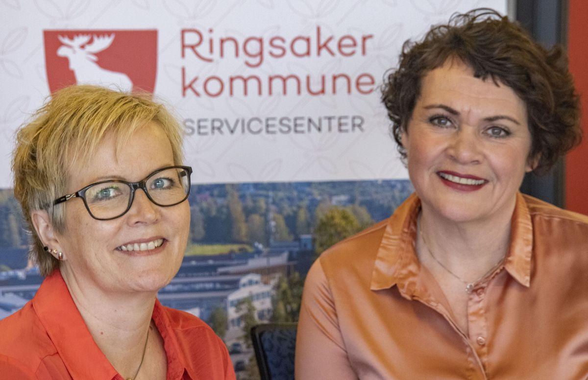 Kvalitetsrådgiver Berit Mæhlum (til v.) syntes det var viktig å involvere ansatte ved dagens sykehjem i prosessen og fikk verdifulle innspill i retur. Til høyre Berit Elisabeth Nygård, leder for institusjonstjenester i Ringsaker.