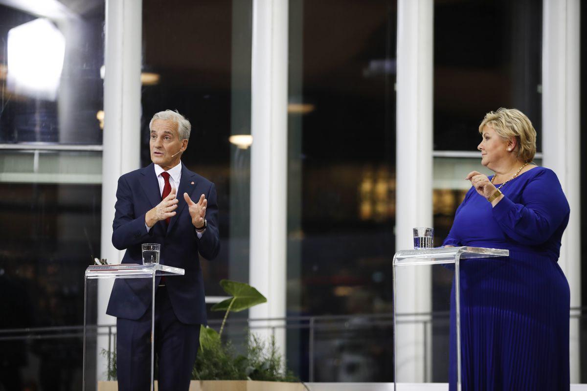 Partilederne Jonas Gahr Støre (Ap) og Erna Solberg (H) har sammen med Frp mistet 537.000 velgere siden valget i 2017.