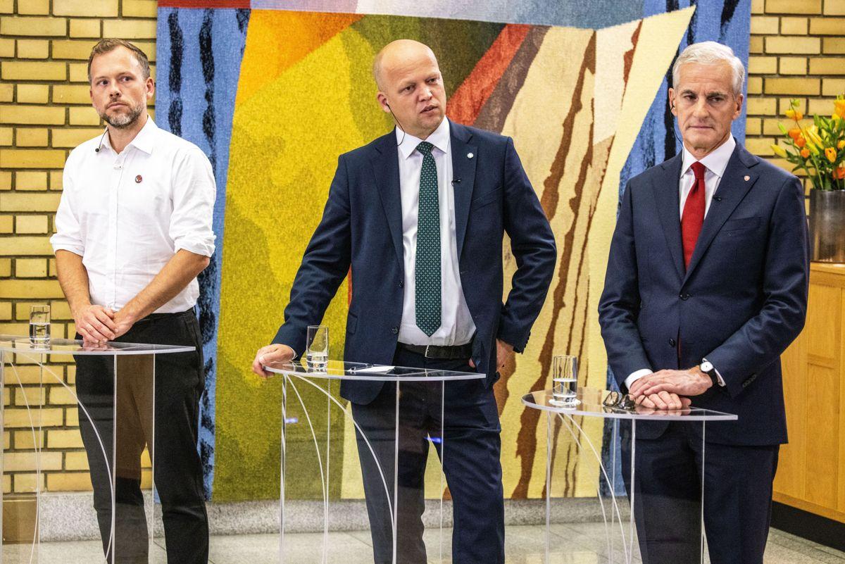 Jonas Gahr Støre (Ap), Trygve Slagsvold Vedum (Sp) og Audun Lysbakken (SV) i partilederdebatten etter stortingsvalget. Nå venter tøffe forhandlinger.