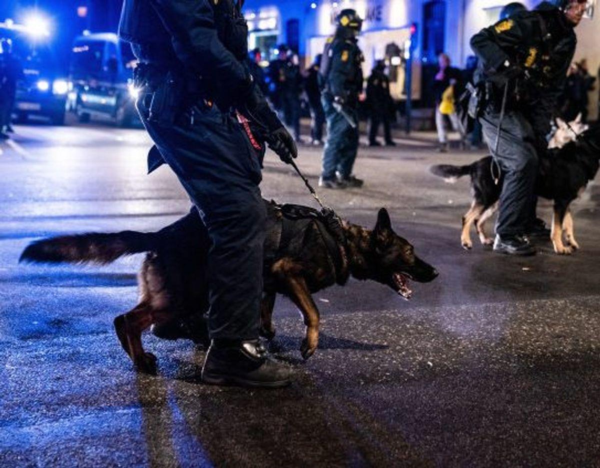 Der var massivt politiopbrud  ved demonstrationen. Foto: Emil Helms/Scanpix