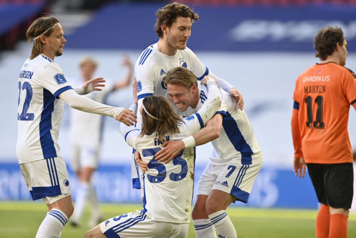 Viktor Fischer scorede til 2-1 for FCK i første halvleg. Foto: Lars Møller/Scanpix