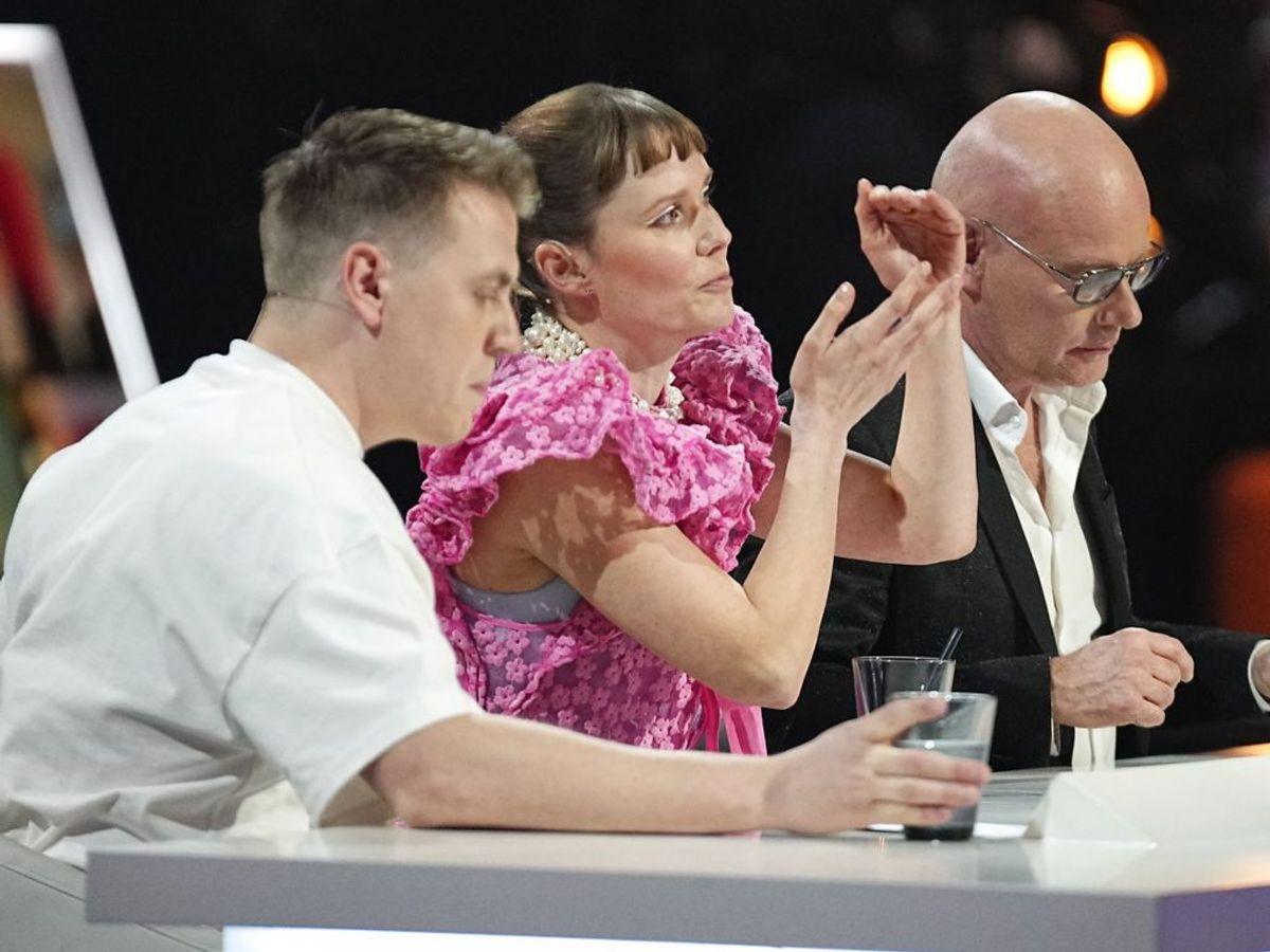Dommerne Martin Jensen, Oh Land og Thomas Blachman havde intet at skulle have sagt i aften. Foto: Martin Sylvest/Scanpix.