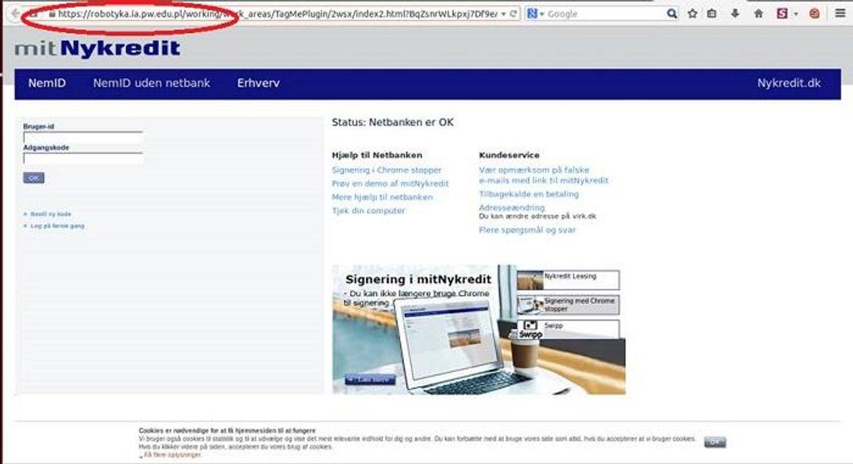 """""""Nogle phishing-mails linker ind til hjemmesider, der ser troværdige ud, men som er falske kopier. På disse hjemmesider opfordres brugerne til at tage et billede af deres nøglekort og uploade det. Nøglekortet må ikke affotograferes eller digitaliseres. NemID og Netsvil aldrig sende mails ud til NemID-brugere for at bede dem om at oploade eller scanne deres nøglekort,"""" skriver Nets Her er det en falsk hjemmeside. Foto: Nets"""