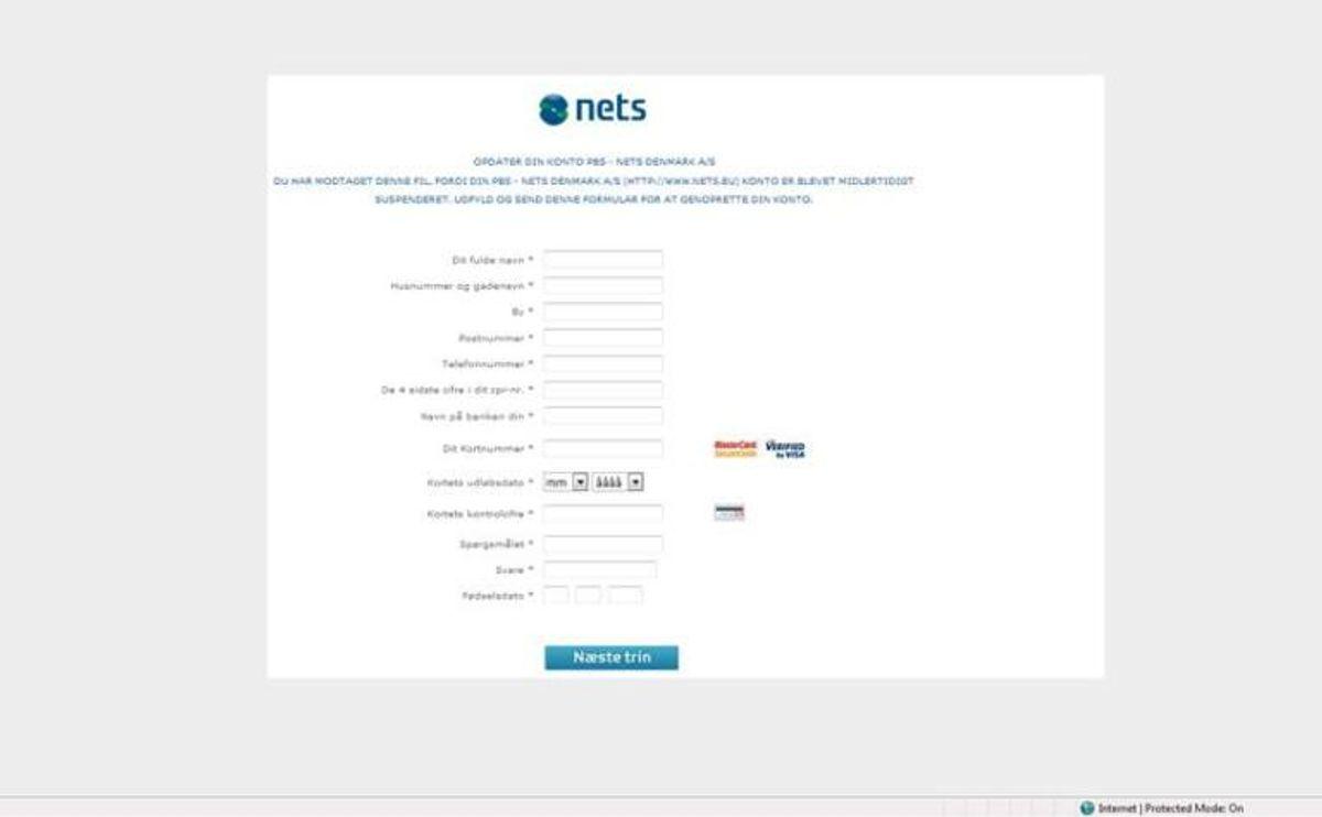 Her er et eksempel på et link til en falsk hjemmeside, hvor man opfordres til at indtaste fortrolige oplysninger. Foto: Nets
