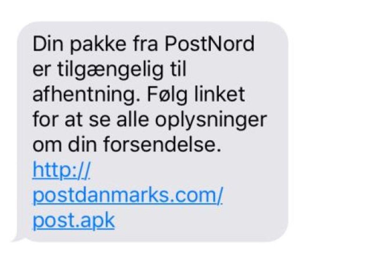 Sådan kan en svindel-SMS se ud. Det kaldes også for smishing. KLIK for flere eksempler.