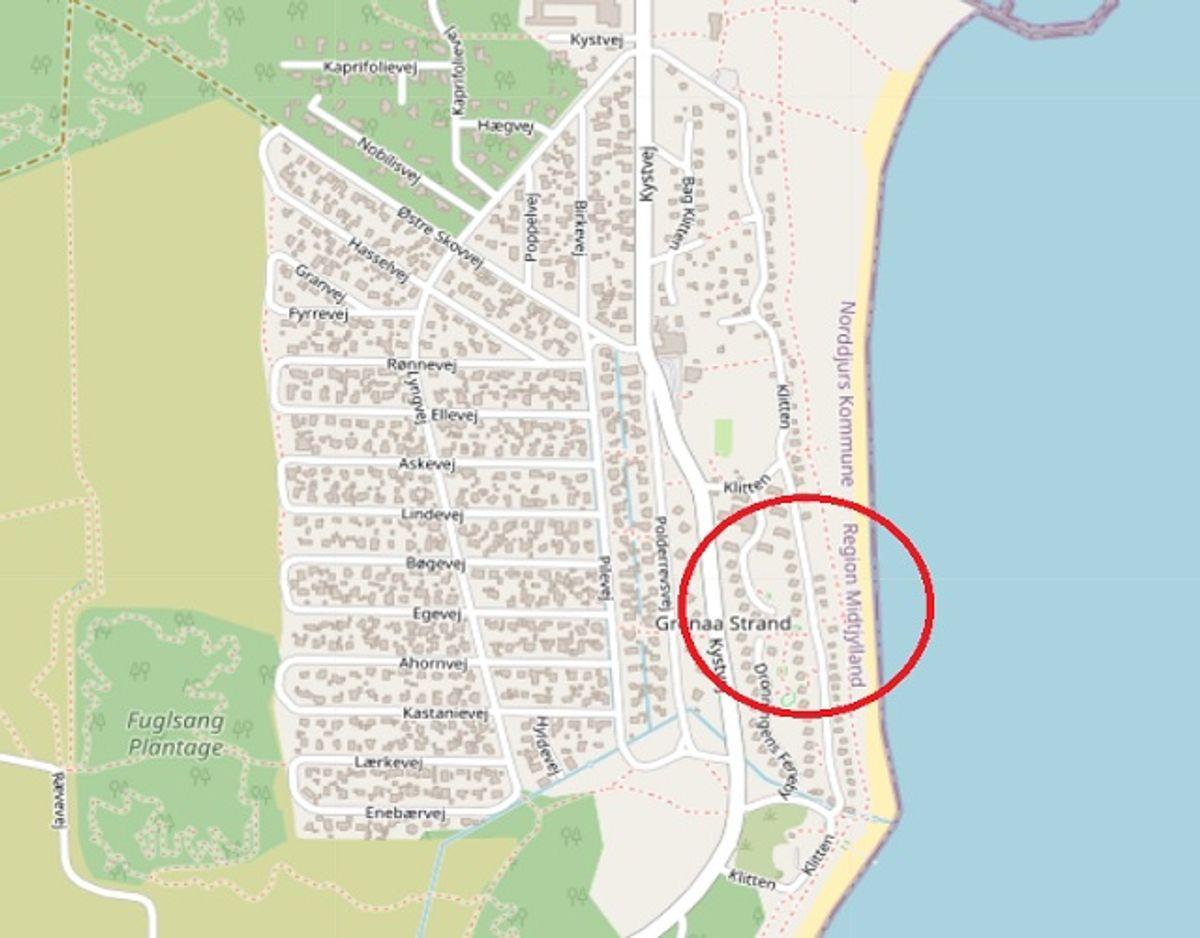 Det er i dette område, tøjet blev fundet. Foto: ©OpenStreetMap-bidragsydere.