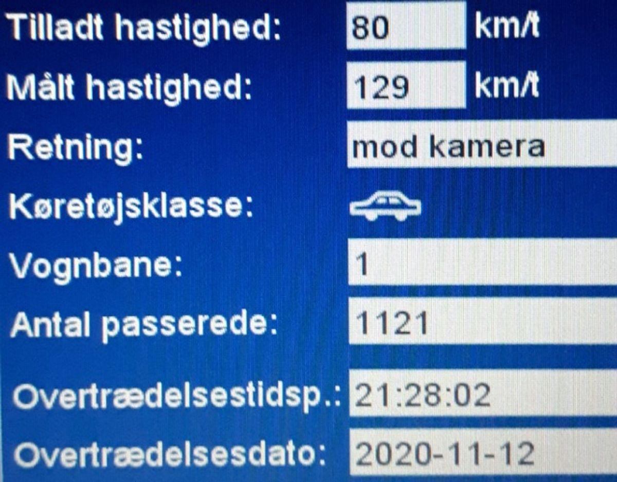 Så hurtigt gik det – igen – på Tinglevvej. KLIK og se flere målinger fra Tinglevvej. Foto: Syd- og Sønderjyllands Politi.