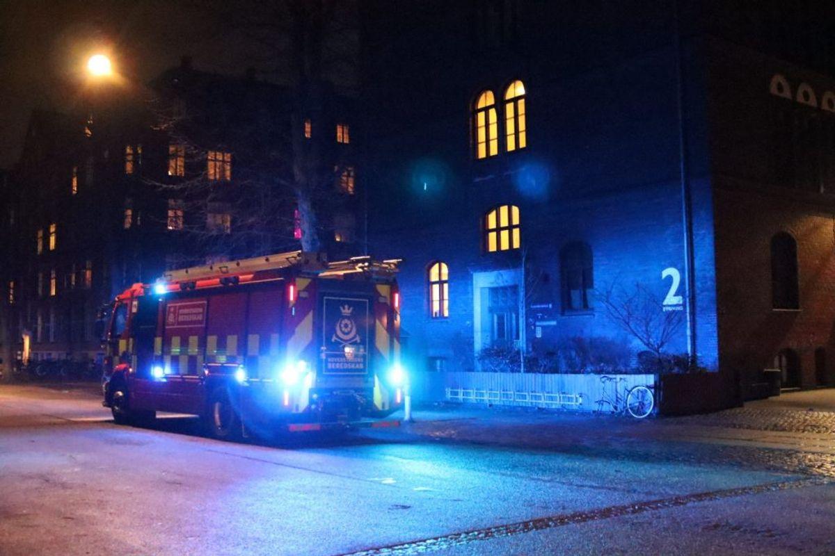 Her brand ved Blågårds Skole. Foto: Presse-fotos.dk