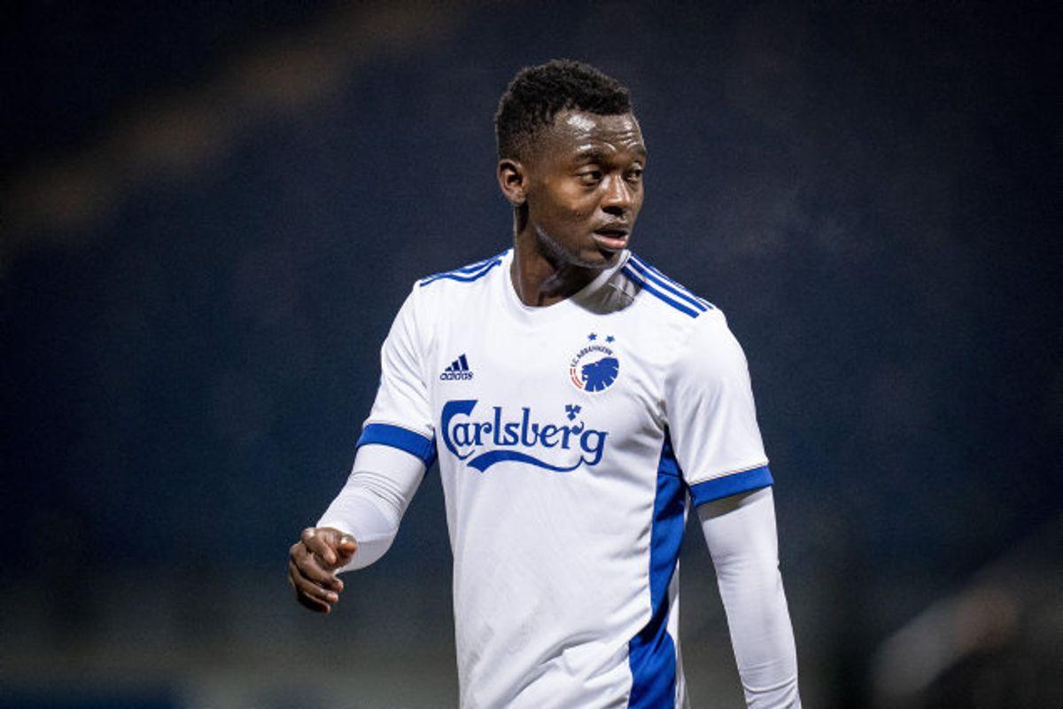 Mustapha Bundu vendte i januar hjem til Danmark og spiller nu for FCK på en lejeaftale. I sommer blev han solgt fra AGF til Anderlecht. Foto: Liselotte Sabroe/Scanpix