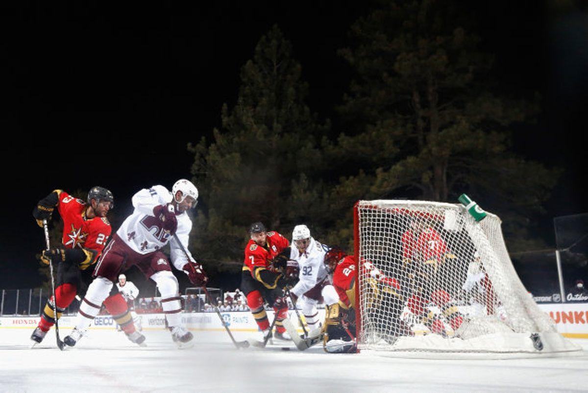 Colorado Avalanche førte, da kampen mod Vegas Golden Knights blev afbrudt, og endte også med at vinde kampen. Foto: Christian Petersen/AFP