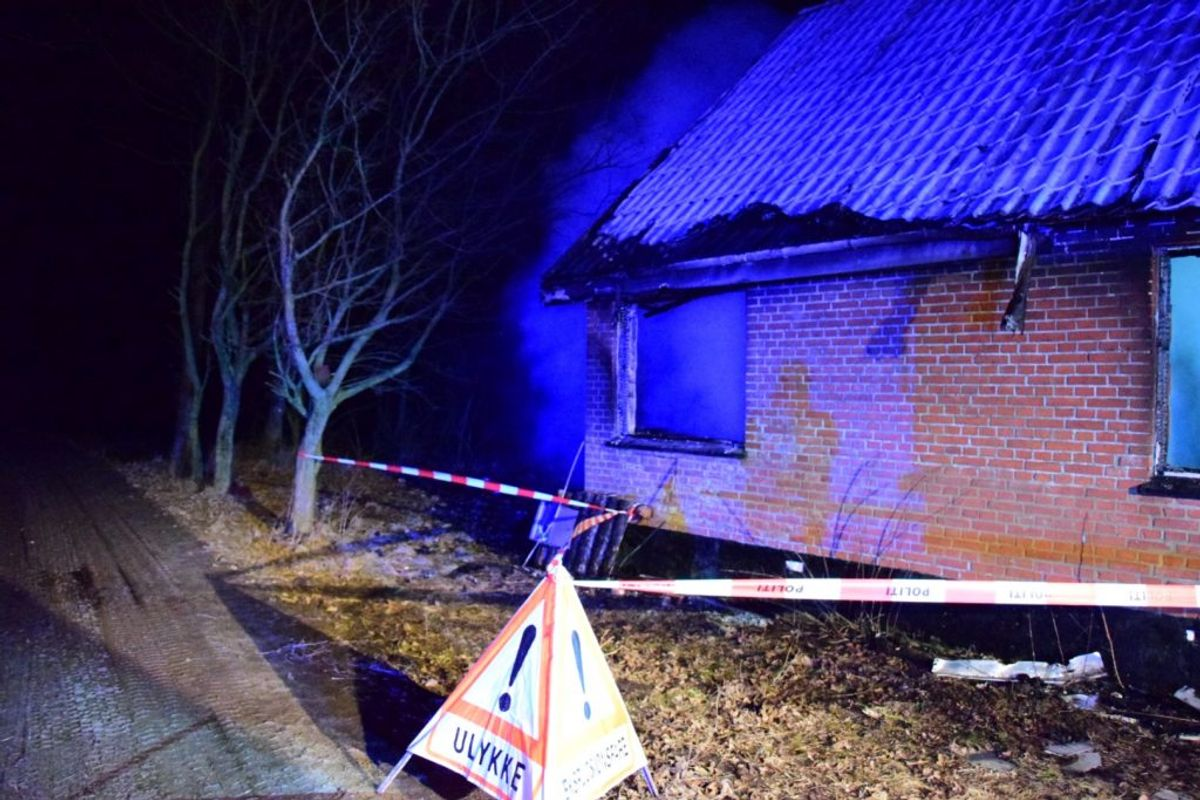 Branden menes at være påsat. Foto: Øxenholt Foto
