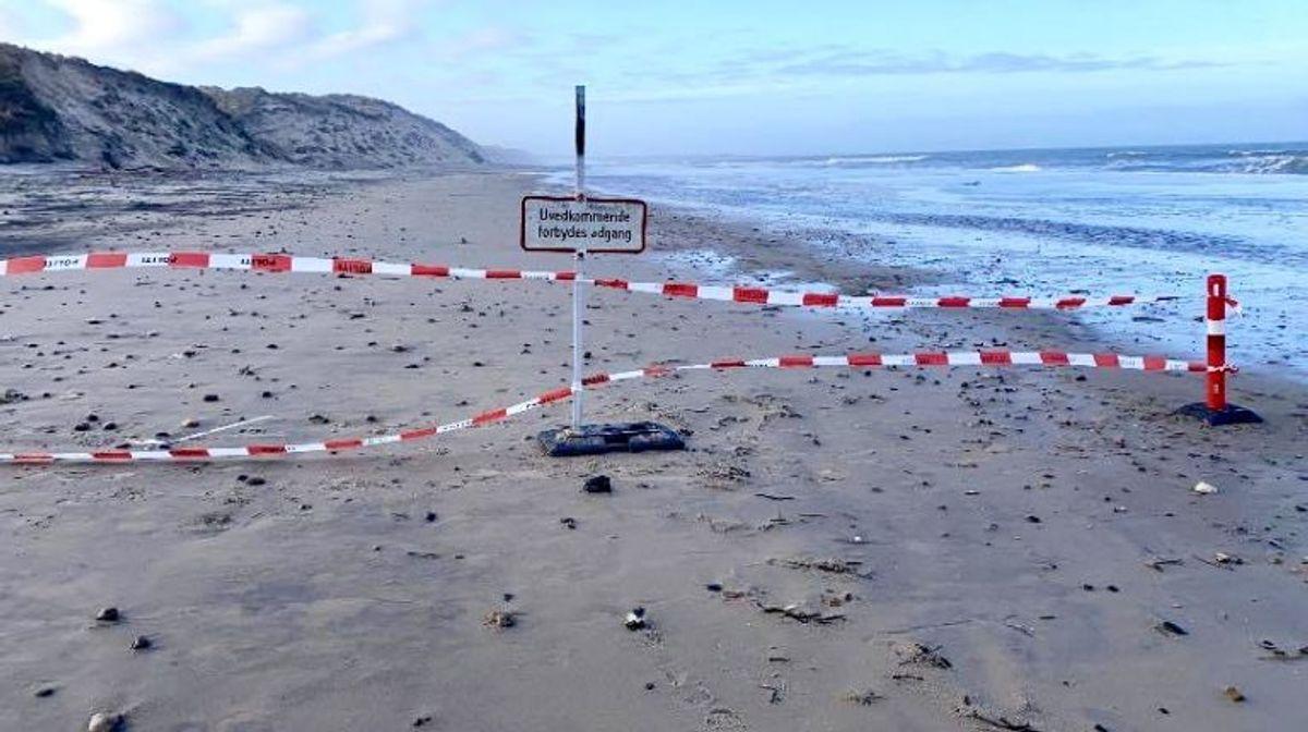 Stranden ved Bøgsted Rende i Thy er blevet spærret af på grund af fare for kviksand. Foto: Michael Mørk, strandfoged.