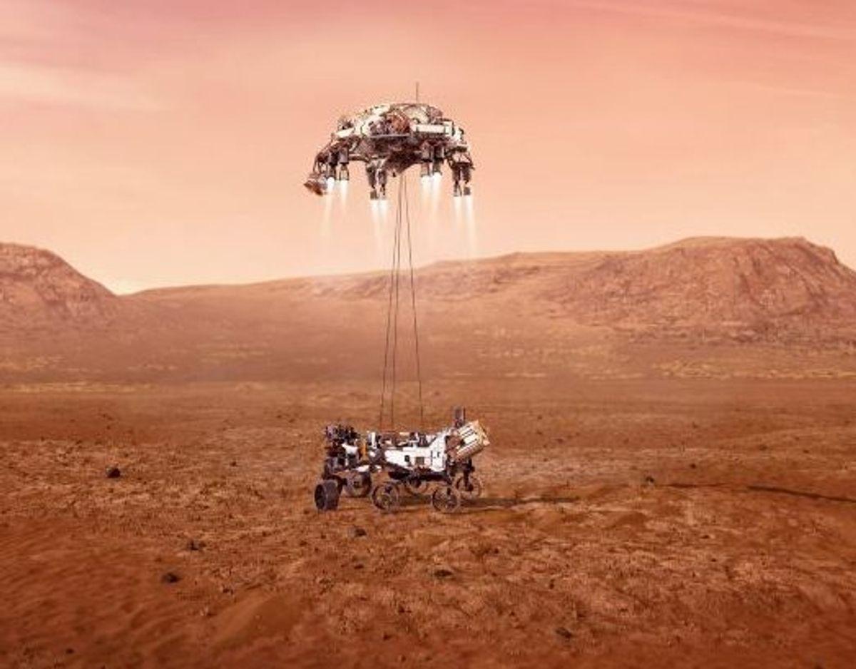 Robotten er planmæssigt landet på Mars. Foto: Uncredited/Scanpix
