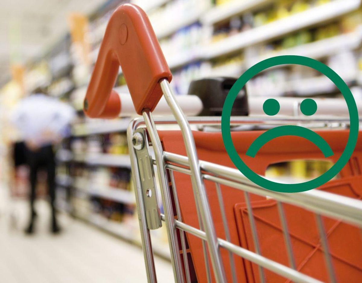 Besøget kostede butikken en sur smiley og en bøde. Foto/grafik: Genreforo/Fødevarestyrelsen.