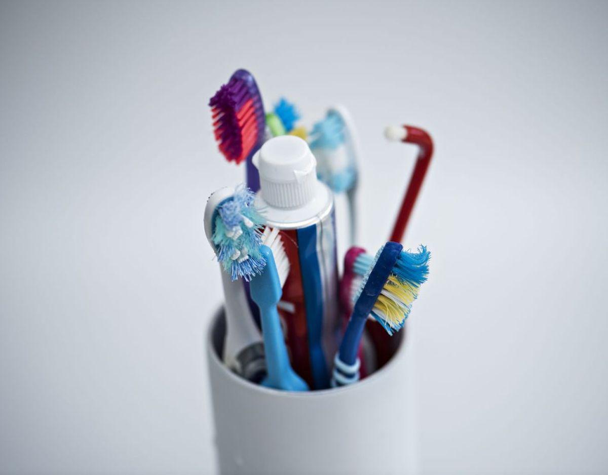 Du bør ikke være bekymret for, hvad din tandbørste gemmer på. Så længe du husker at børste dine tænder og passe på dig selv, forstås. Genrefoto: Scanpix.