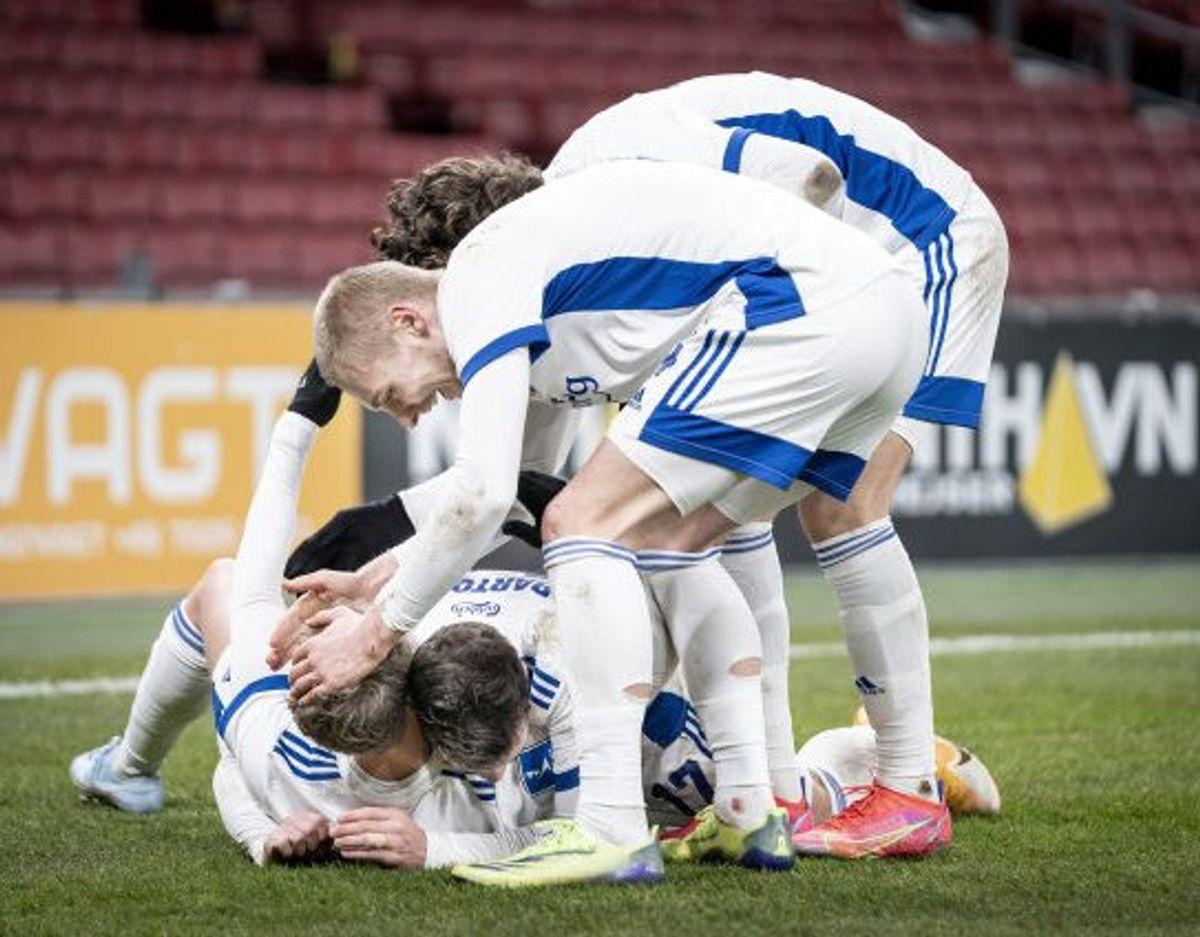 FC Københavns spillere jubler efter scoring under 3F Superliga-kampen mellem FC København og Sønderjyske. Foto: Mads Claus Rasmussen/Scanpix