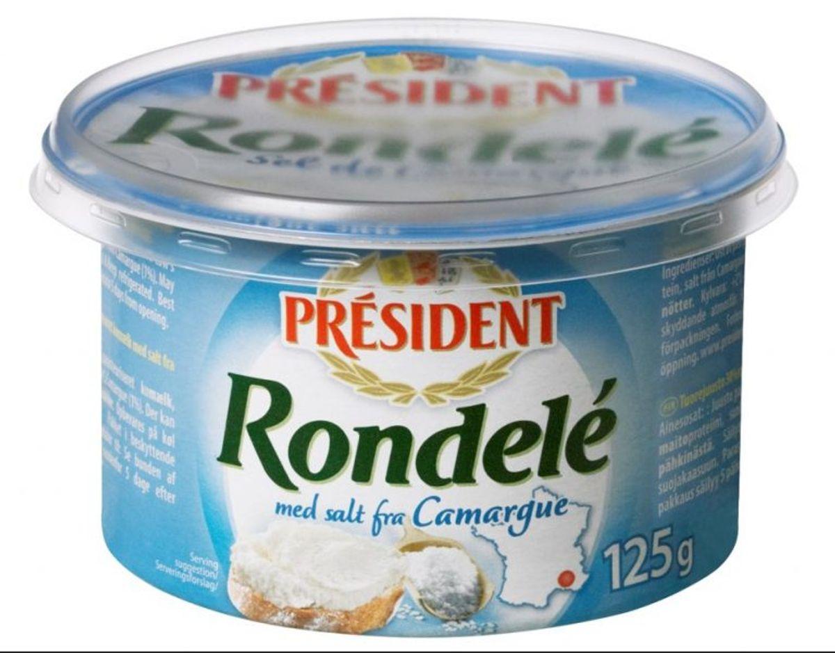 Produktet Président Rondelé med havsalt trækkes nu tilbage som følge af mugfund. Foto: Fødevarestyrelsen.
