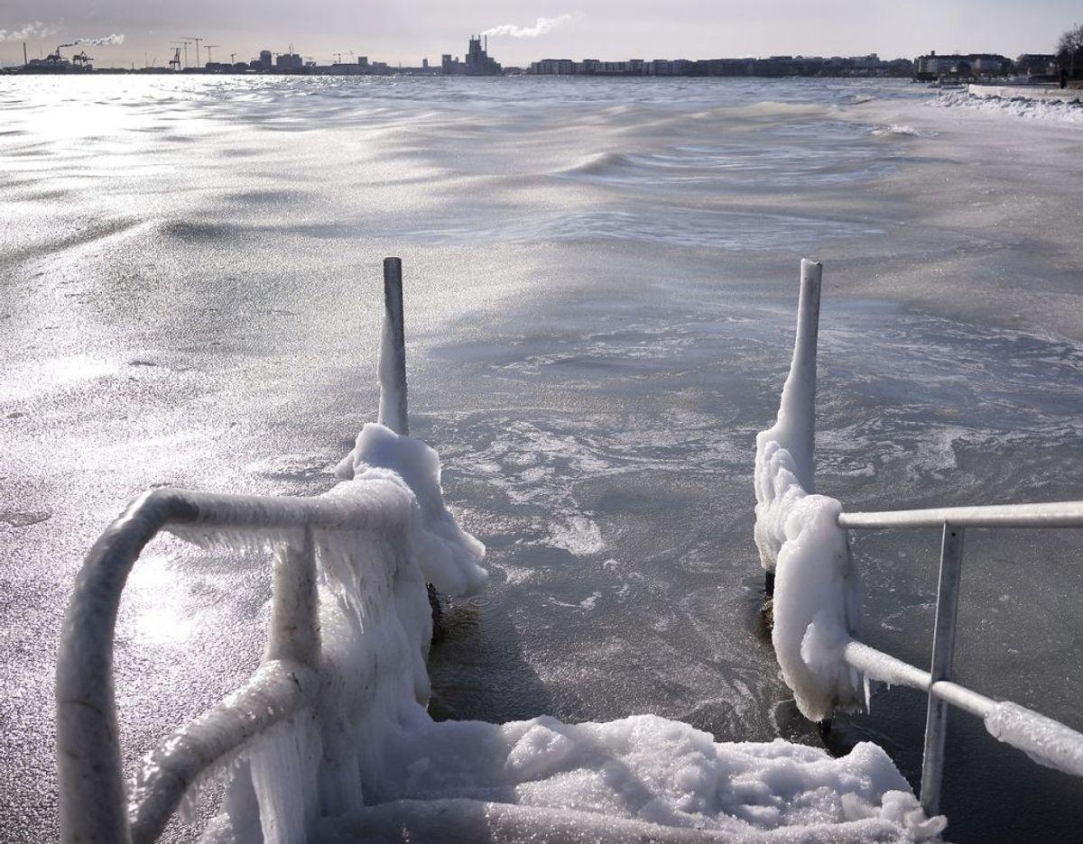 Med temperaturer ned til minus 15 grader bliver Danmark natten til fredag som en dybfryser. Foto: Liselotte Sabroe/Ritzau Scanpix