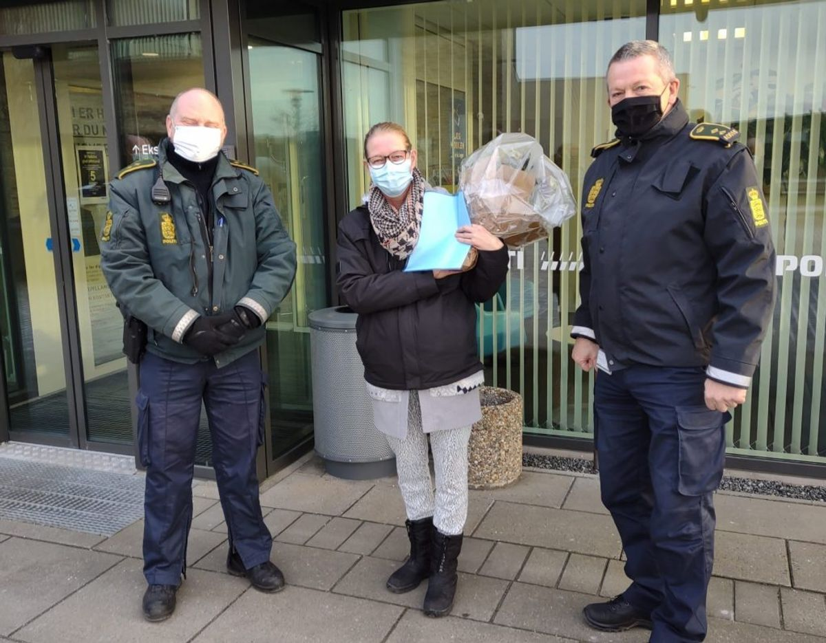 Ina Ritter blev anerkendt for sin modige bedrift af politiet. Foto: Nordjyllands Politi