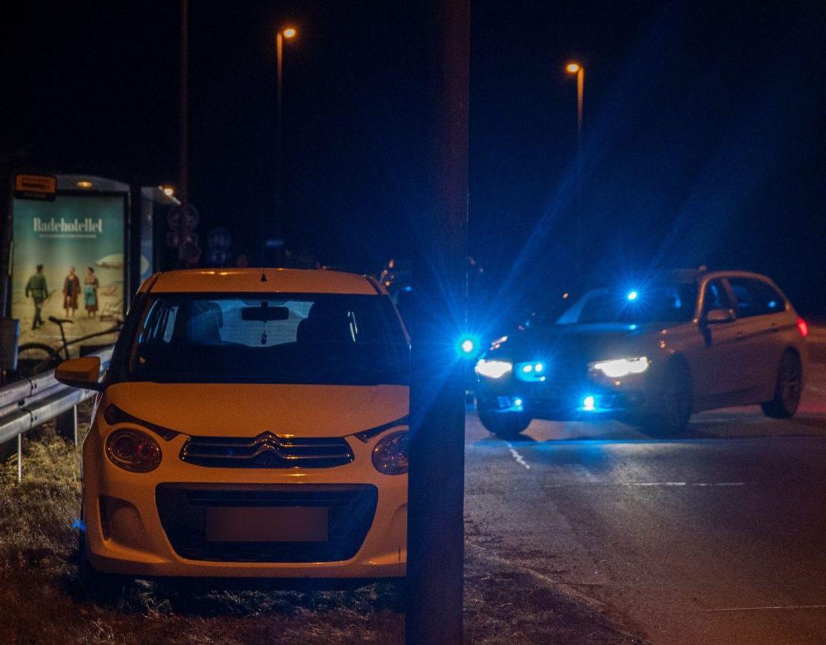 Sent tirsdag aften stoppede politiet en bil.  Nu er to personer varetægtsfængslet. Foto: Rasmus Skaftved