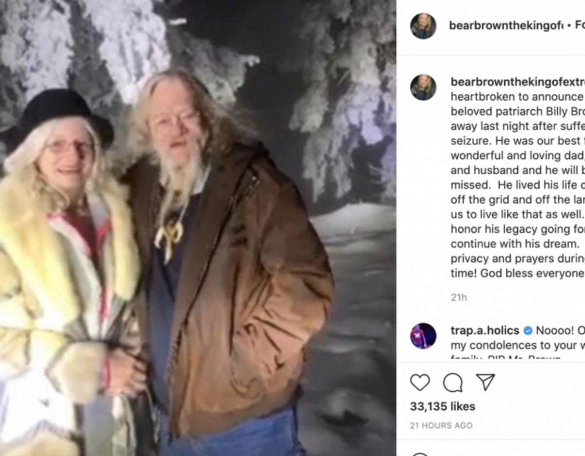 Sønnen Bear fortæller her om faderens død på Instagram.