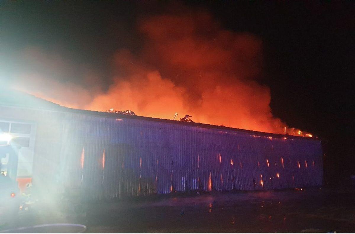 Alarmen om branden i lagerhallen lød klokken 01.53. Foto: Øxenholt Foto