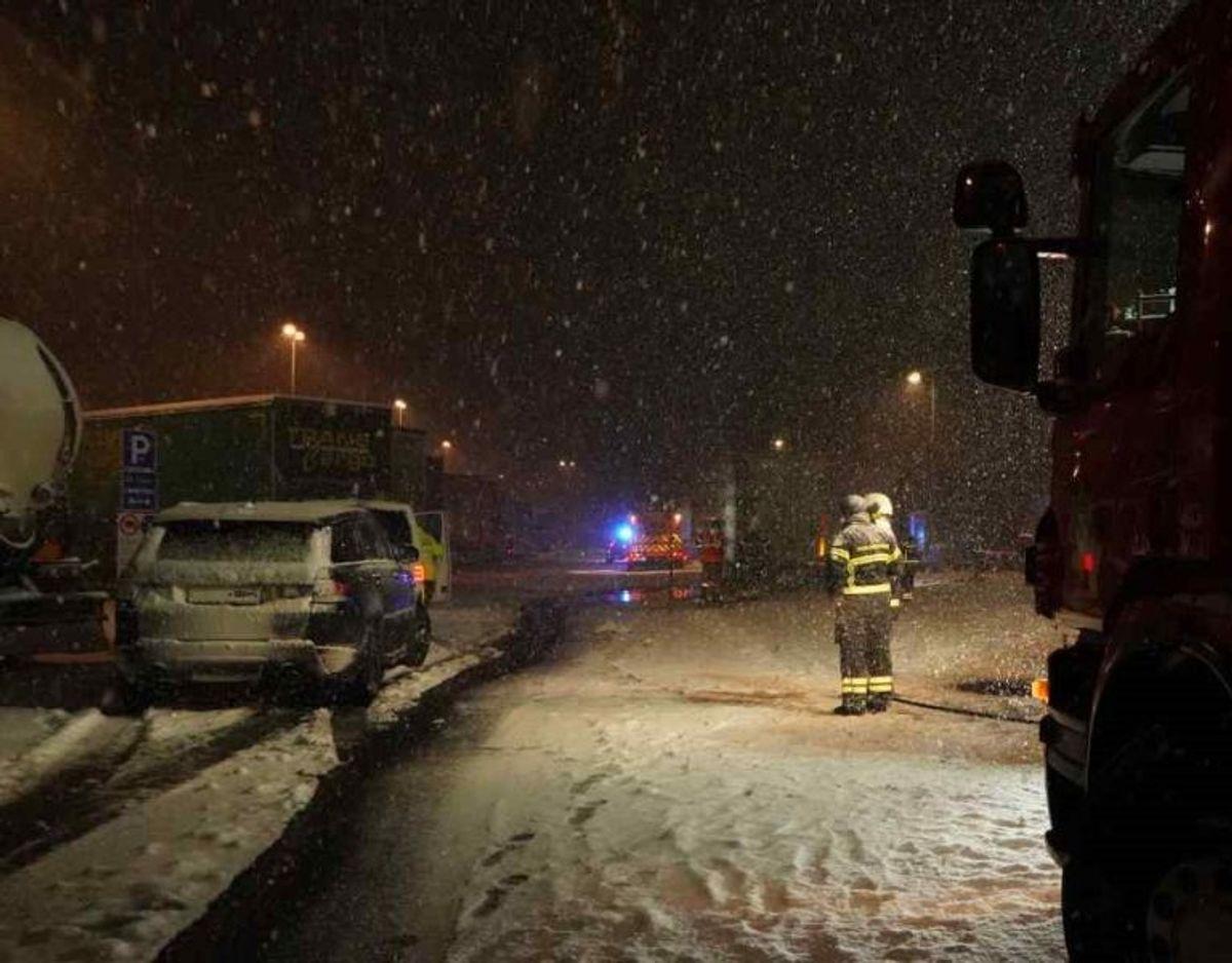 Politi og brandvæsen arbejder onsdag morgen på at omlade overlevende dyr. Foto: Local Eyes.