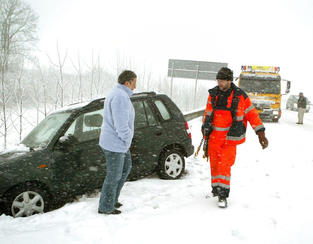 Det voldsomme vintervejr har betydet, at tusindvis af bilister har brug for vejhjælp.Arkivfoto: Ernst van Norde/Ritzau Scanpix