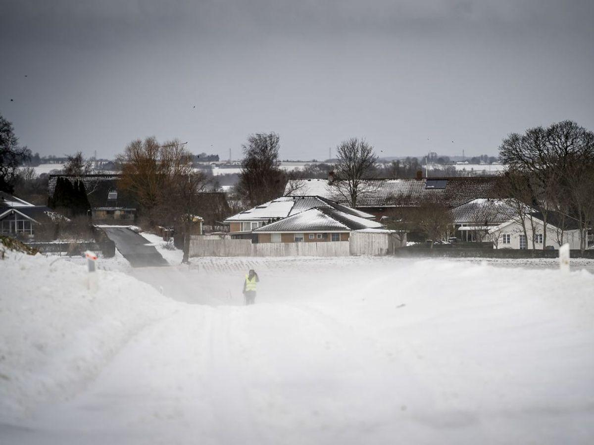 Sne og snefygning ved Sandby nær Ringsted på Midtsjælland. KLIK videre og se billeder fra Danmark. (Foto: Mads Claus Rasmussen/Ritzau Scanpix)
