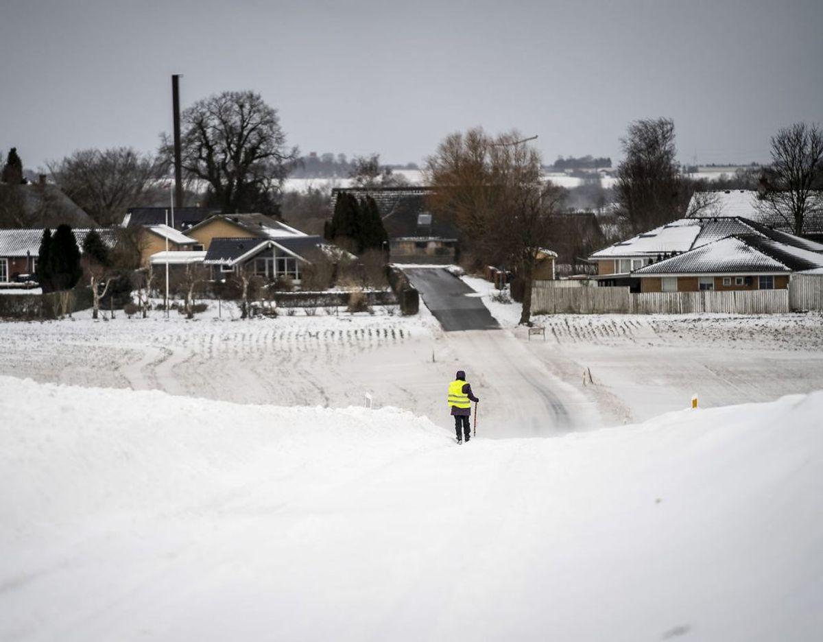 Sne- og snefygning vil sætte sit præg på vejret. KLIK VIDERE OG SE, HVOR DMI ADVARER. (Foto: Mads Claus Rasmussen/Scanpix)