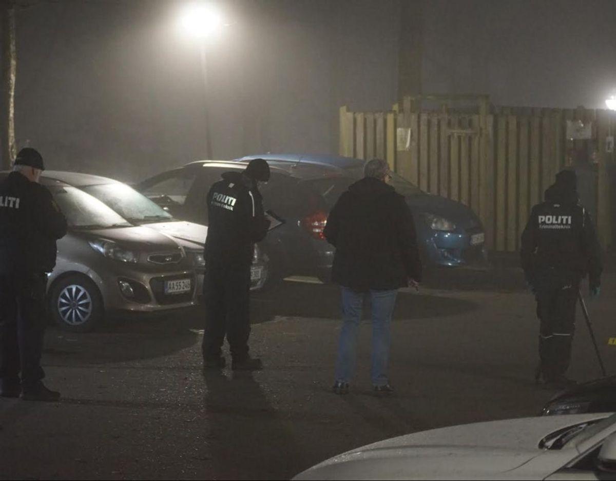 Sådan så der ud 24. januar, da en 24-årig mand blev skudt. Foto: Presse-fotos.dk.