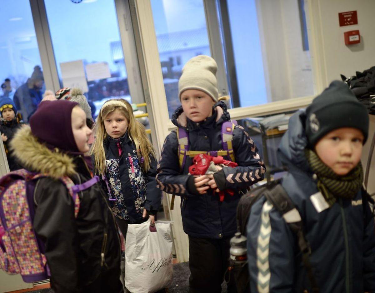 Her skolestart på Tved Skole ved Svendborg. Foto: Scanpix/Tim K. Jensen