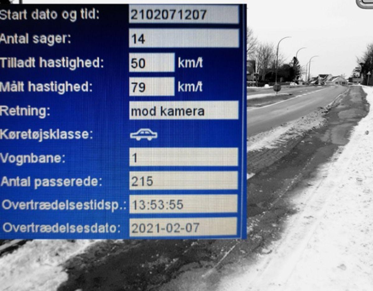 En bilist havde en noget underlig undskyldning efter sin  fart-bommert. Foto: Syd- og Sønderjyllands Politi.