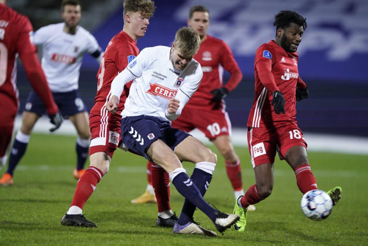 AGF fik fightet sig til en kneben sejr hjemme over Lyngby i Superligaen. Foto: Henning Bagger/Scanpix