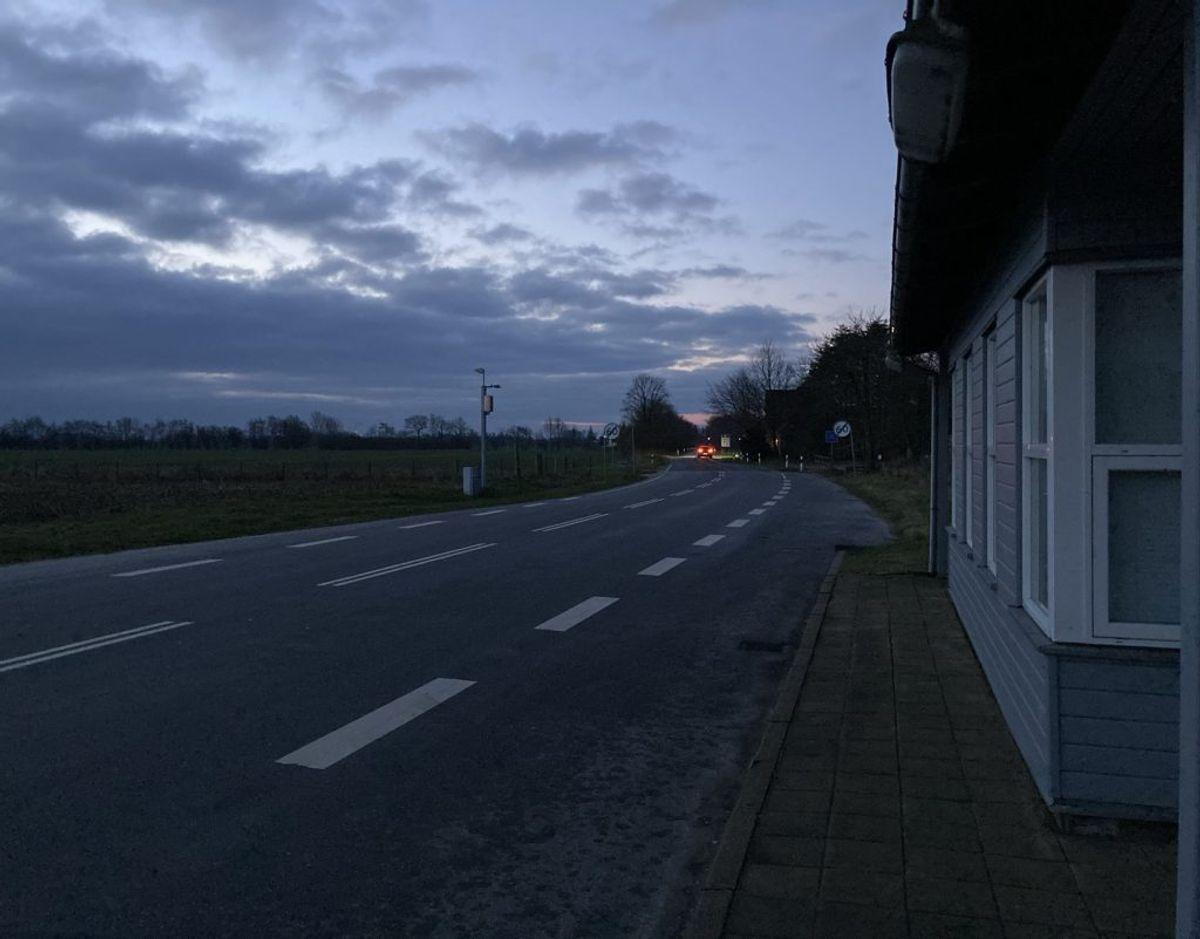Pebersmark grænseovergang, klokken 8.00 fredag. Foto: Nicklas Skyum Clausen