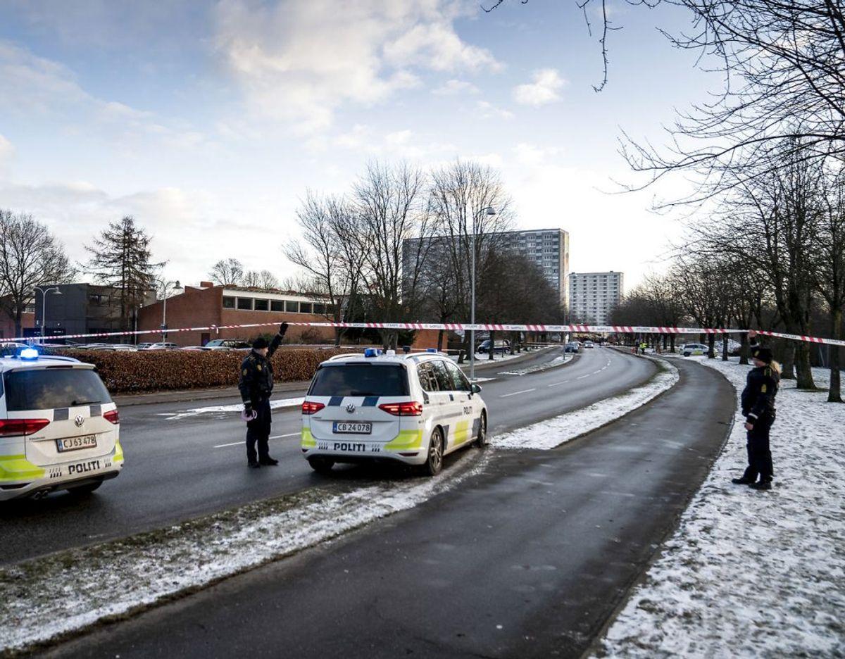 Politiet har hele dagen efterforsket i området. (Foto: Mads Claus Rasmussen/Ritzau Scanpix)