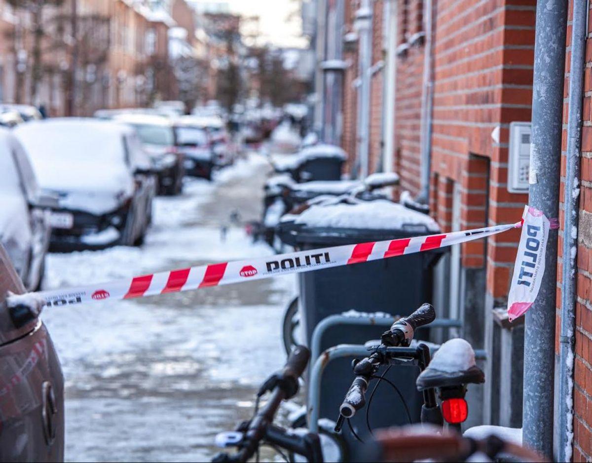 Det var her i den centrale del af Esbjerg knivstikkeriet fandt sted torsdag morgen. Foto: Presse-fotos.dk.